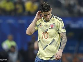 阿斯:J罗膝盖受伤,将缺席哥伦比亚国家队的比赛