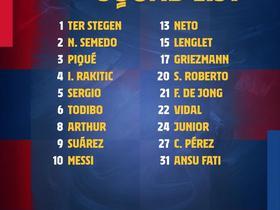 巴萨对阵格拉纳达大名单:梅西领衔,阿尔巴缺席,登贝莱无缘
