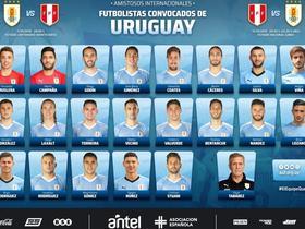 乌拉圭大名单:苏亚雷斯和卡瓦尼缺阵,戈丁、托雷拉入选