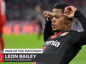 对阵拜仁梅开二度,勒沃库森边锋贝利当选本轮德甲最佳球员